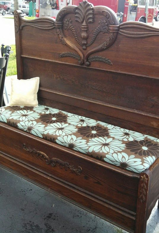 Antique Bed Stool: Bench I Made Out Of An Antique Bed Frame I Found In The