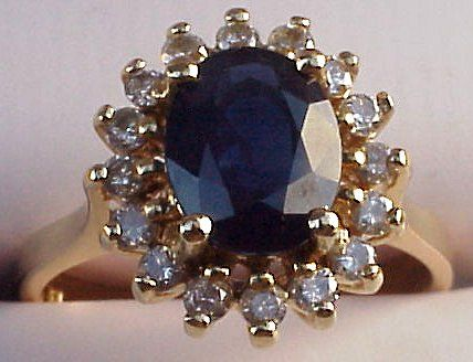 Diana choose an oval blue sapphire engagement ring that weighed in at an astounding 18 ct and was surrounded by 14 small diamonds in an elegant cluster setting.