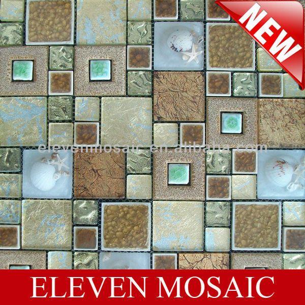 Nuevo 2013 azulejos de mosaico de lámina de oro, de vidrio, de cerámica, azulejos concha emzc21-Mosaicos-Identificación del producto:7401177...
