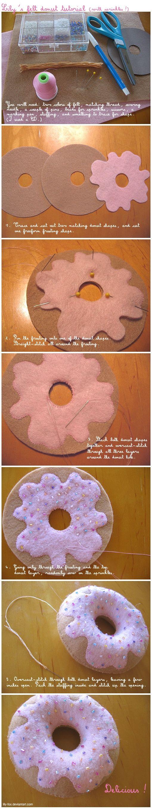 felt donut pincushion: hmmmm...i think i could do that....cute