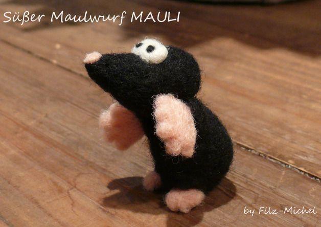 Monster & Tiere - Süßer Maulwurf MAULI, handgefilzt - ein Designerstück von Filz-Michel bei DaWanda