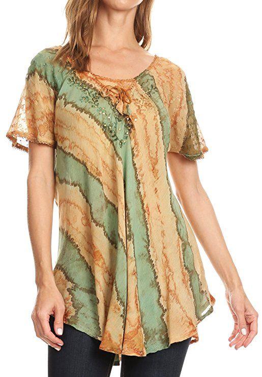 fbaddeaf6ae Sakkas Valencia Tie Dye Sheer Cap Sleeve Embellished Drawstring Scoop Neck  Top at Amazon Women s Clothing store