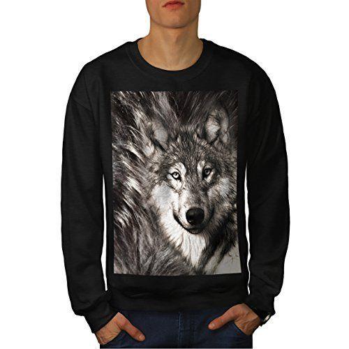 solitaire Loup Visage Sauvage Homme NOUVEAU Noir M Sweat-Shirt | Wellcoda: Cet article solitaire Loup Visage Sauvage Homme NOUVEAU Noir M…