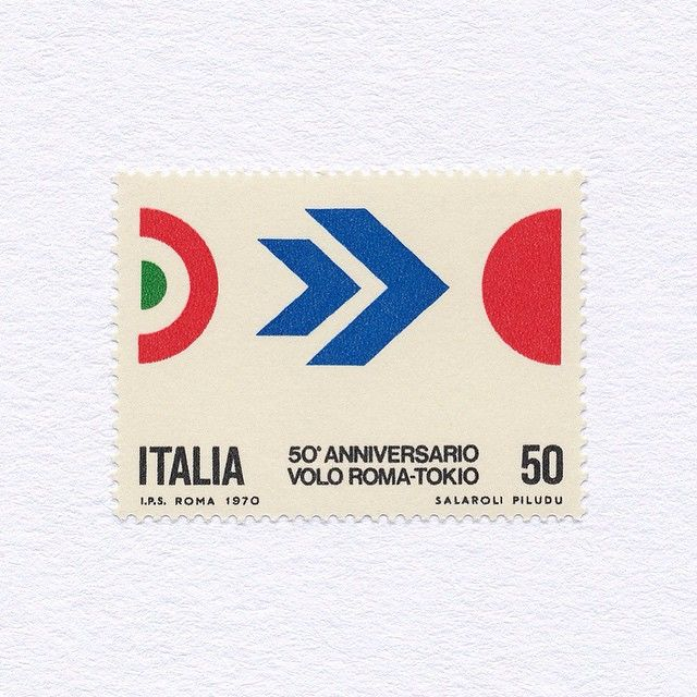 « 50th Anniversary of Flight between Rome and Tokyo (50). Italy, 1970. Design: S. Salaroli + F. Piludi. #mnh #graphilately »