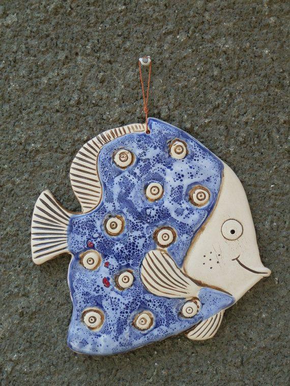Fish, Ceramic fish, Fish tile, Funny fish, Ceramic tile, Blue fish, Ceramics and pottery, Handmade fish, Blue ceramic fish tile