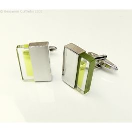 Green / Yellow Slide Cufflinks - Really unusual cufflinks - one side solid with an inserted green/yellow and clear slide.