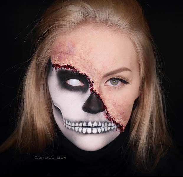 Scary Burned Half Face Skeleton Makeup for Halloween