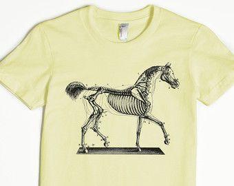 Camiseta para mujeres-t gráfico de mujer camiseta de caballo - caballo esqueleto camisa-