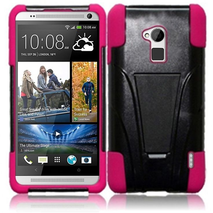 Insten Dual Layered Stand Hybrid Cover Phone Case Cover for HTC One Max T6 (Hot Pink), #1861314