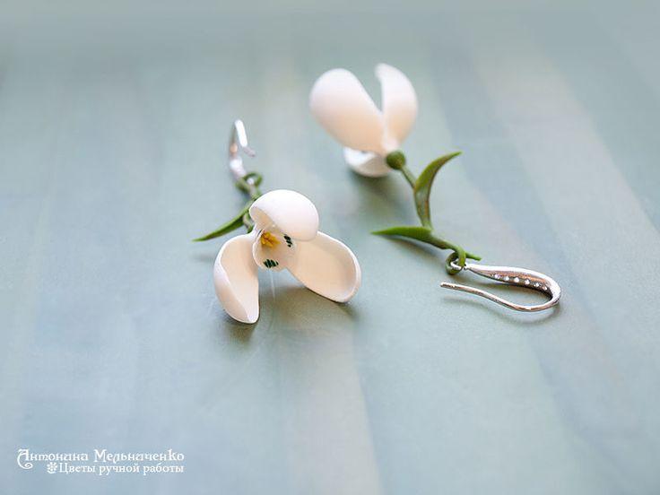 """Купить Серьги """"Подснежники"""" - украшения ручной работы, белые цветы, белый, свадебные украшения, весна"""