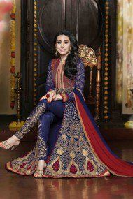 Bollywood Karishma Kapoor Georgette Party Wear Suit in Blue Colour