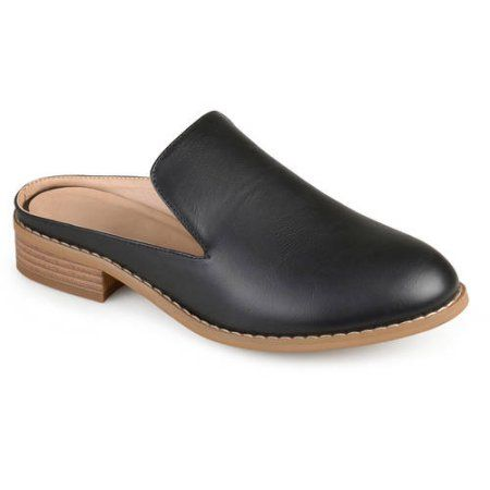 Brinley Co. Womens Slide-on Stacked Heel Faux Leather Mules, Size: 8.5, Black