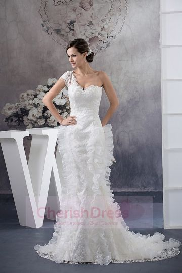 One Sleeve Sweetheart Trumpet Rushing Chapel Wedding Dress - Wedding Dresses - WEDDING APPAREL