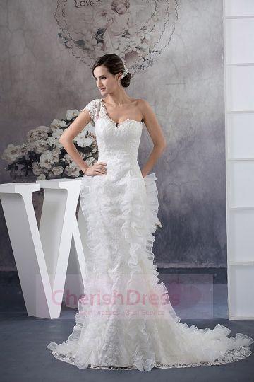 One Sleeve Sweetheart Trumpet Rushing Chapel Wedding Dress - Wedding Dresses - WEDDING APPAREL