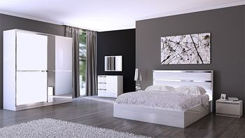 Chambre adulte compl te design orlane coloris blanc et for Chambres adultes completes design