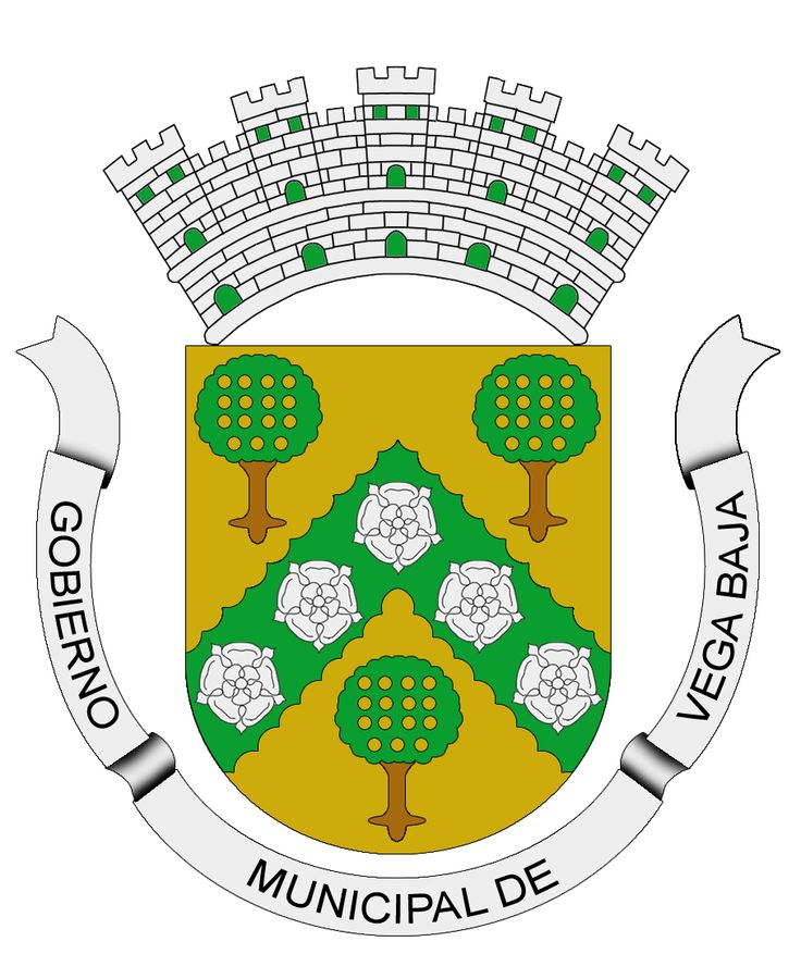 Escudo de Vega Baja, Puerto Rico. The Vega Baja Coat of Arms has a v-shape green band, with overlapping roses in silver and three oranges trees, with fruits in gold. In the superior part a five tower crown, silverplated with black and green. The main colors of the shield; green and gold are used traditionally in civic, scholastic and sport activities. The crown five tower indicates that the town holds the rank of Villa by Royal Real Decree