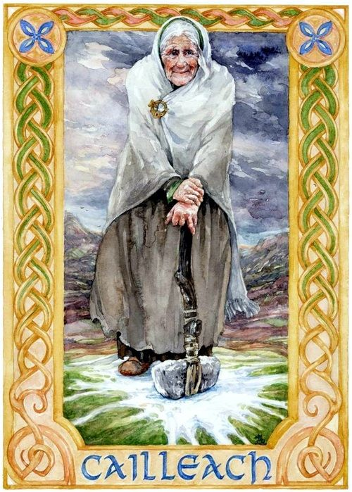In Irish and Scottish mythology, the Cailleach is a hag goddess concerned with creation, harvest, the weather and sovereignty. In partnership with the goddess Brigid, she is a seasonal goddess, seen as ruling the autumn and winter months while Brigid rules the spring and summer. § Illustration: Cailleach by Mairin-Taj Caya