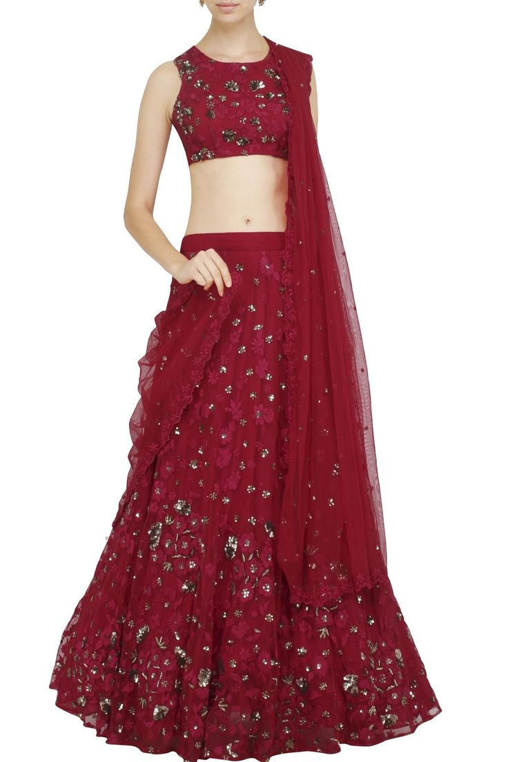 Red sequinned and embroidered lehenga set