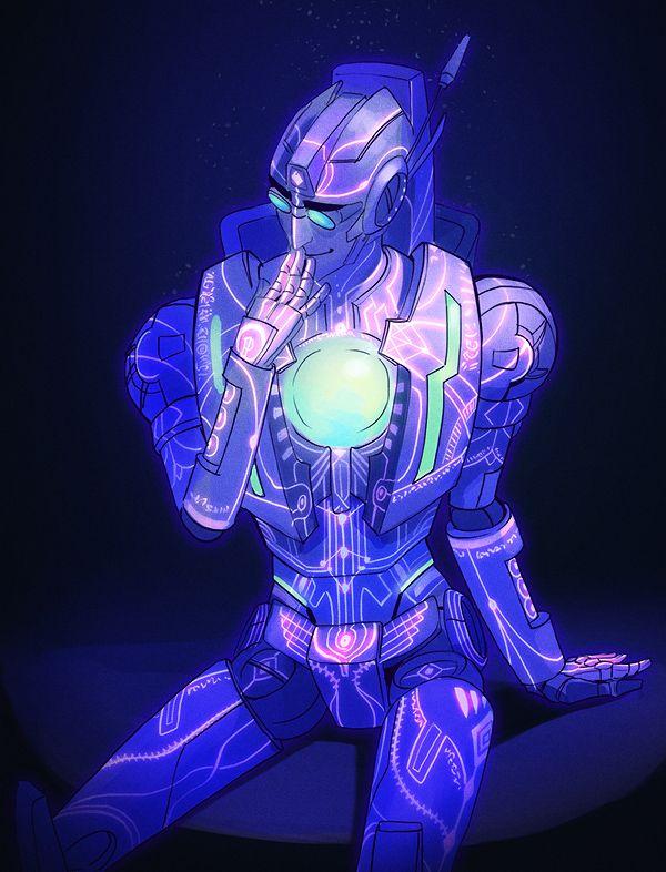 """larrydraws: """"Based on the series of headcanons about Rung being covered in UV tattoos like an avatar of Primus"""""""