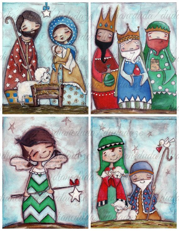 Set of 4 Nativity Christmas Paintings on Canvas Panels by Diane Duda