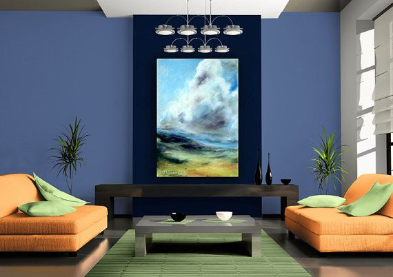 Large wall decor sky blue green violet white canvas or paper giclee art print of pastel painting by kauai hawaii fine artist donia lilly