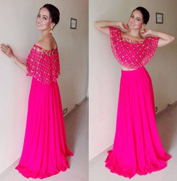 """12.1k Likes, 50 Comments - Desi Classy Brides (@desiclassybrides) on Instagram: """"Buy Designer Neha Chopra's Pink offshoulder embroided cape with attached blouse. Comes with a plain…"""""""