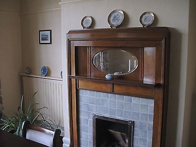 Original Antique 1930s Wood Fireplace Surround with Mirror and tiles