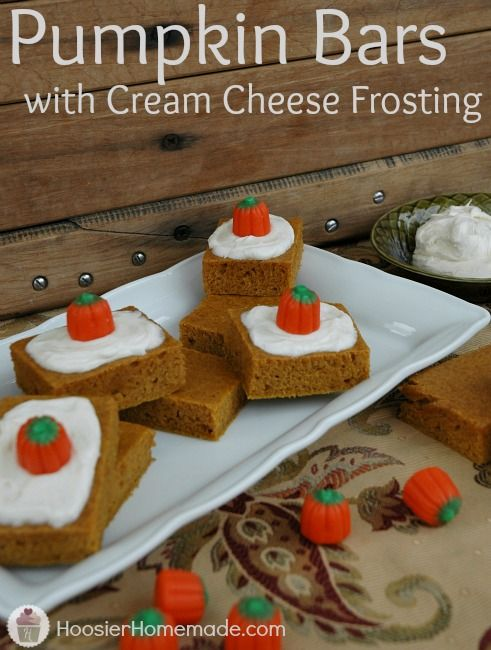 Pumpkin Bars with Cream Cheese Frosting Recipe! Perfect for Thanksgiving Dinner! Recipe on HoosierHomemade.com