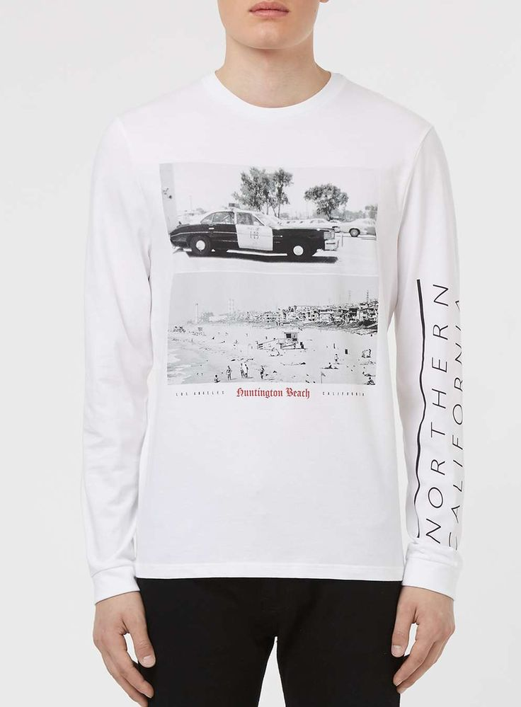White Huntington Beach Print Long Sleeve T-Shirt - Men's T-Shirts & Vests -  Clothing