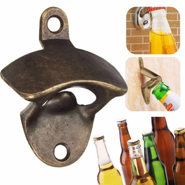 Vintage Bronze Dipasang Pembuka Anggur Bir Cap Pembuka Botol Soda Kaca Dapur Bar Hadiah