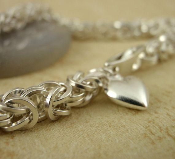 Petite Square Sterling Silver Filled Bracelet - KIT - Beyond Basic Byzantine - Stunning Chainmaille. $70.00, via Etsy.
