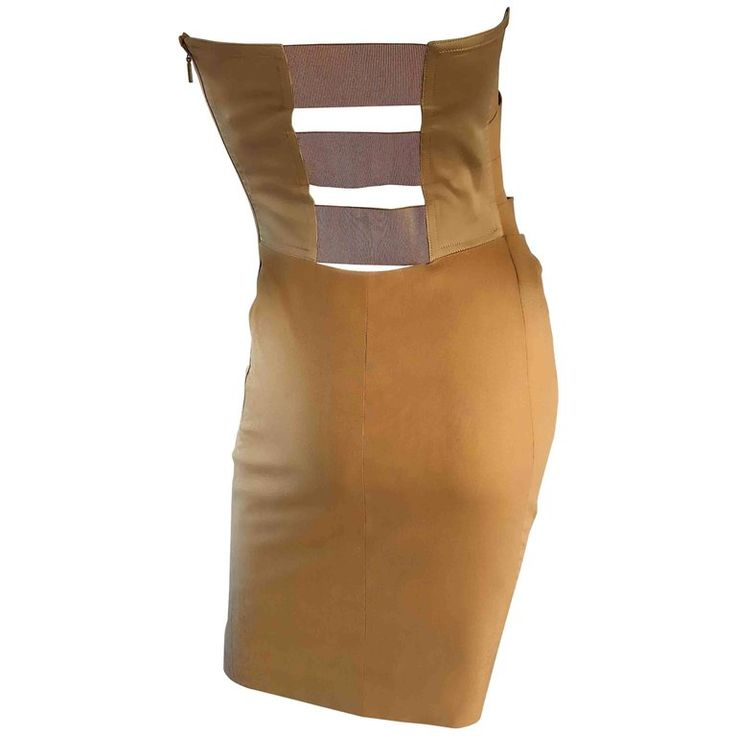 Gucci by Tom Ford Larger Size 48 12 1990s Tan Camel Cage Back 90s Vintage Dress  | From a collection of rare vintage cocktail-dresses at https://luigi.1stdibs.com/fashion/clothing/evening-dresses/cocktail-dresses/