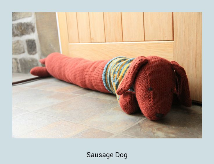 Knitted Draught Excluder Pattern : Sausage Dog Draught Excluder #knitted #sausagedog #draughtexcluder #Rowan K...