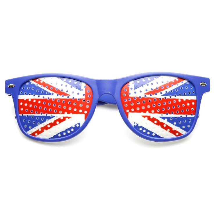 Colorful Horn Rimmed Great Britain UK British Flag Novelty Sunglasses