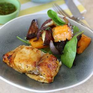 Apricot-Glazed Yellowtail with Roasted Butternut, Sweet Potato and Red Onion Salad | Crush Magazine Recipe