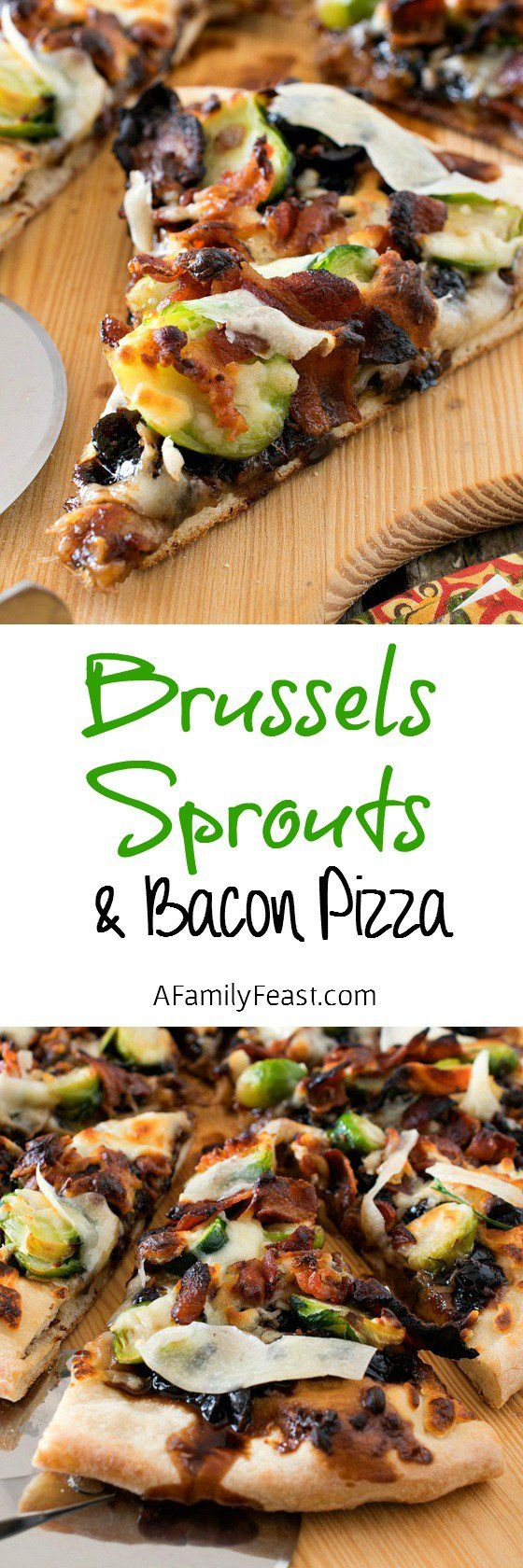 Brussels Sprouts and Bacon Pizza - Such a fantastic flavor combination for a pizza!