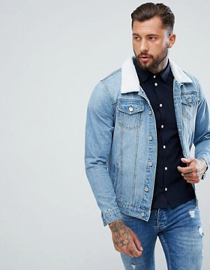 c514cfd0eb boohooMAN Denim Jacket With Borg Collar In Light Wash