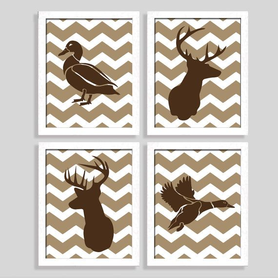 Hunting Print Set - Deer Print - Duck Print - Set of Four 8x10 Prints - Nursery Art - Baby Wall Art - Boy Room - Hunting Nursery - Chevron on Etsy, $38.95
