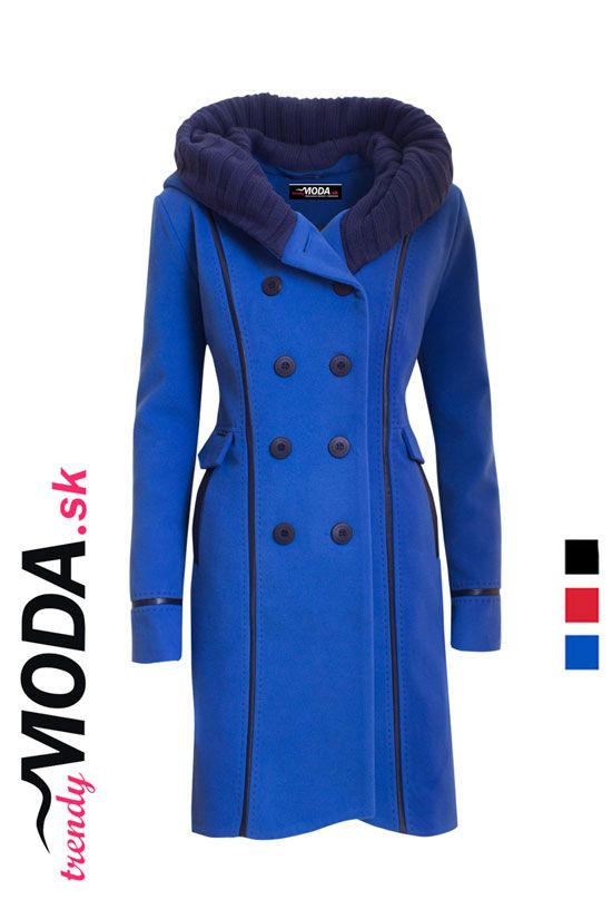 Modrý zimný dámsky kabát s dvojradovým zapínaním - trendymoda.sk