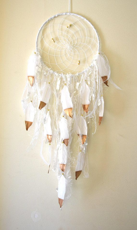 White Gold Dream Catcher Large Dream Catcher Gift Shabby
