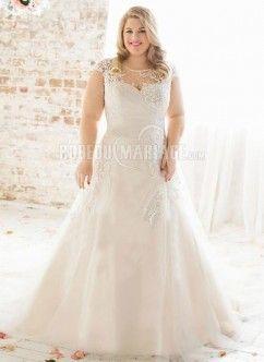 Col haut bustier robe de mariée grande taille satin dentelle