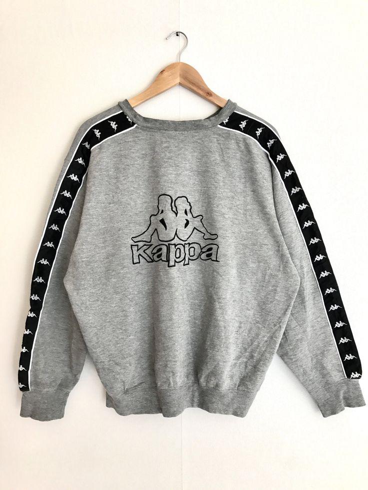 Sale Rare !! Vintage Kappa Sport big logo designs sweatshirts 90's hype streetwear fashion sytle crewneck Grey color by Psychovault on Etsy