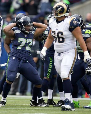 """Michael Bennett sack dance:  """"Two angles from heaven with chocolate pouring down.""""  Say what, bro?"""