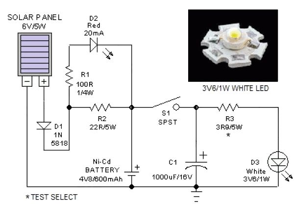 This Portable Solar Lantern Circuit Uses 6 Volt 5 Watt Solar Panels Are Now Widely Available With The Help Of Solar Lanterns Solar Panels Electrical Projects