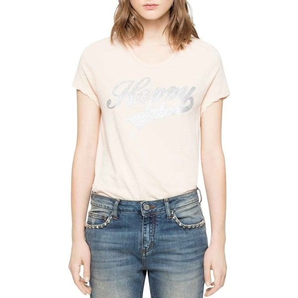 Zadig & Voltaire Titan Bis T-Shirt (£77) ❤ liked on Polyvore featuring tops, t-shirts, white, white t shirt, slouchy white tee, slouchy white t shirt, white top and slouchy t shirt