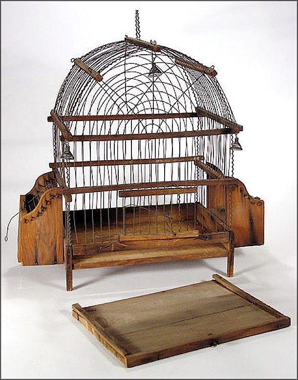 Antique American Pine & Wire Ware Bird Cage w/ Bells - Wireware - Folk from oh on Ruby Lane