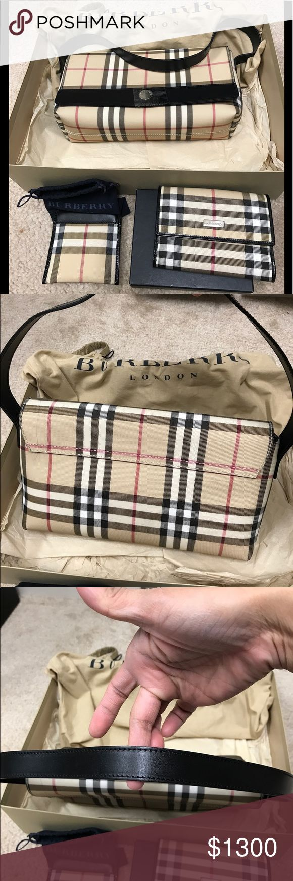 Auth Burberry clutch and wallet SET Unused Classic Burberry handbag/clutch with gently used trifold authentic wallet. You will love this set. Clean inside and out. No rips no tears. Just plain beauty. Burberry coin purse has already been purchased so not included in the set. Burberry Bags Clutches & Wristlets