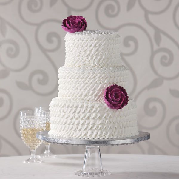 Enchanted Ruffle + ivory butter cream frosting, red velvet cake, succulents instead of roses, and natural icing pattern