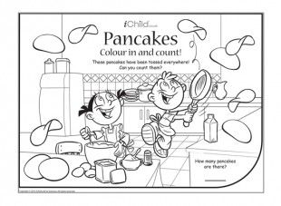 Print this picture and colour it in. Children can have fun counting how many pancakes have been tossed all over the kitchen. Which improves their maths!