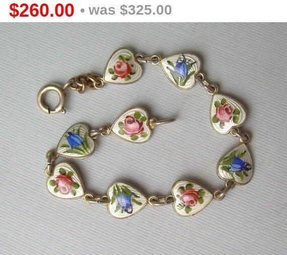 "Guilloche Hearts Flowers Bracelet-Vintage Antique Gold On Silver-Enamel-Collectible Designer ""Norway Sterling 925S SV"" Finn Jensen Hallmark by CougarCoveFineGifts on Etsy https://www.etsy.com/listing/239786168/guilloche-hearts-flowers-bracelet"